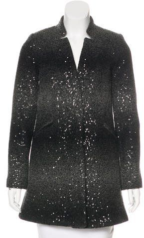 Milly Wool Blend Sequined Coat