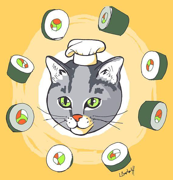 Sushi Cat, sushi cat, does whatever a sushi cat does  Custom Cat Portrait Drawing Cartoon Cute Pet Illustration