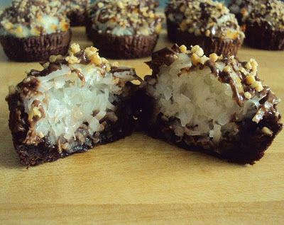 Yum!  Almond Joy Brownie Bites!!!  I love coconut.  These will be made for the next church dinner for sure!