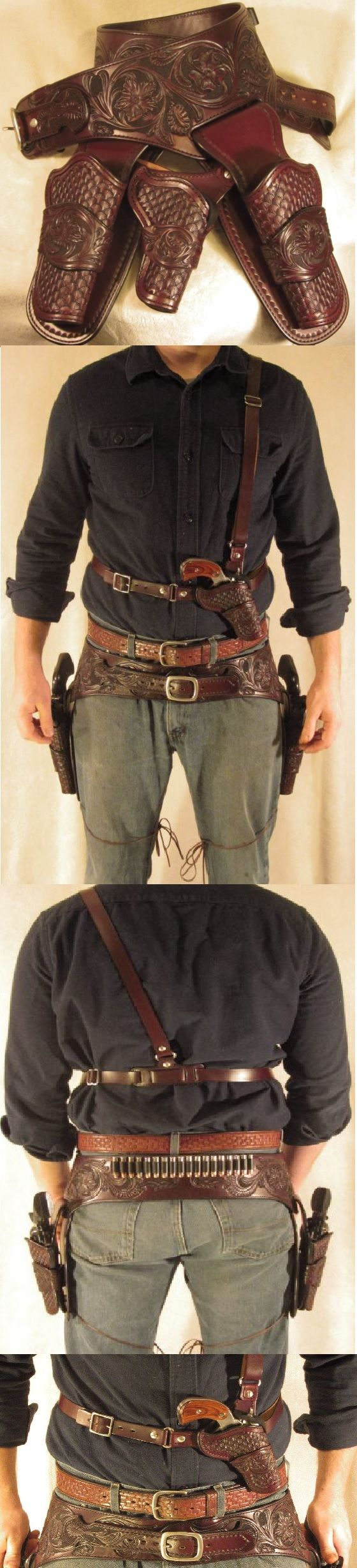 3 pistol western gun belt and shoulder rig by Mason Anderson at Shield Custom Leather.