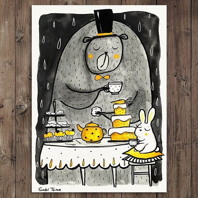 #Inktober day 10  Even though the weather was rather bad,  #gigantic Mr. Bear was very excited about Mr. Rabbit's tea party. He even put on his top hat and his best bow tie. #illustration #Inktober2017
