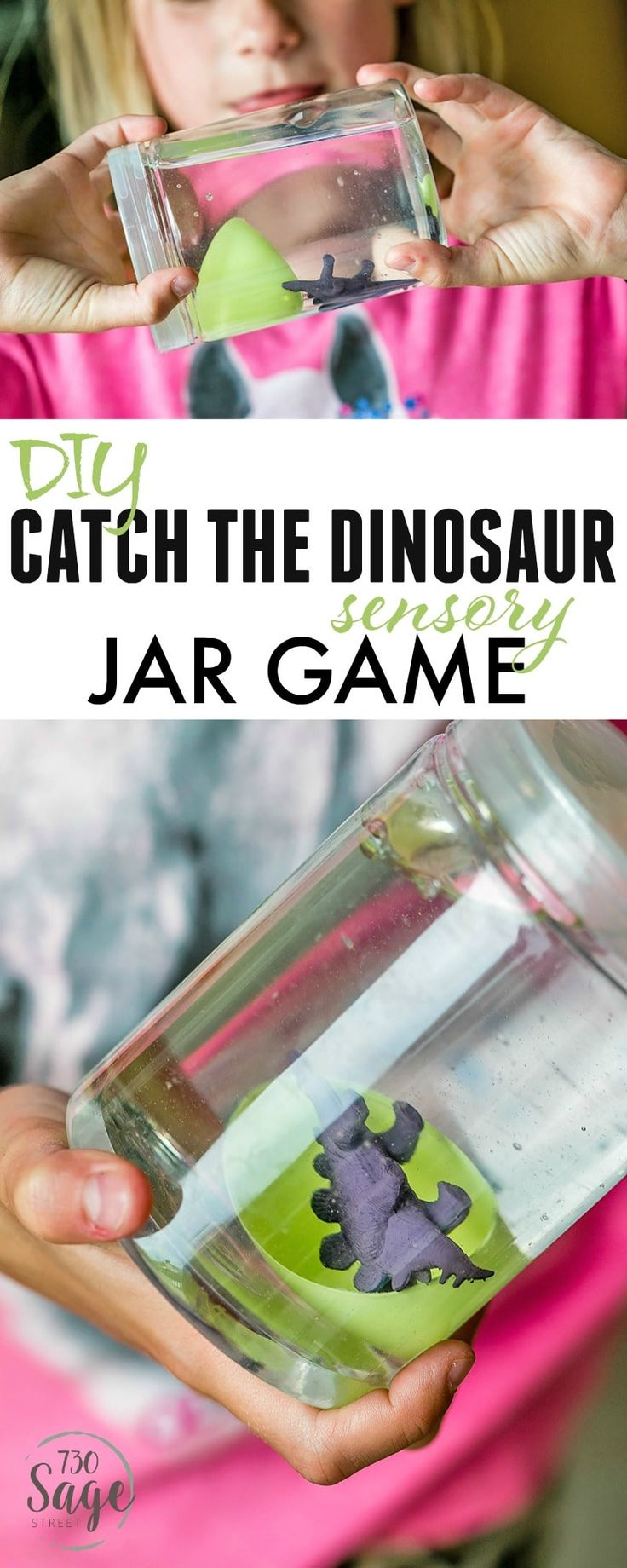 Dinosaur Preschool Crafts help engage imaginations and keep kids busy. This DIY Catch The Dinosaur Sensory Jar Game is easy to make and is super fun! via @730sagestreet