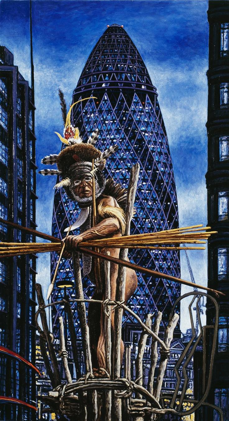 Andrea Zucchi, Londra, 2007, olio su lino, cm 90x50.