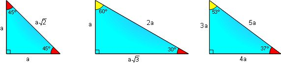 Special Right Triangles 45, 30, 60,37,53 degrees