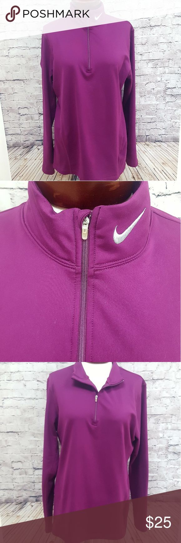 NIKE FIT DRY PURPLE FULL ZIP JACKET XL Womens Nike Fit Dri Purple Long Sleeve Activewear Jacket. Good pre-owned condition (no rips, stains, or holes).   Size XL (16-18) Material: Polyester/ Spandex FAST SHIPPING!! Nike Tops Sweatshirts & Hoodies