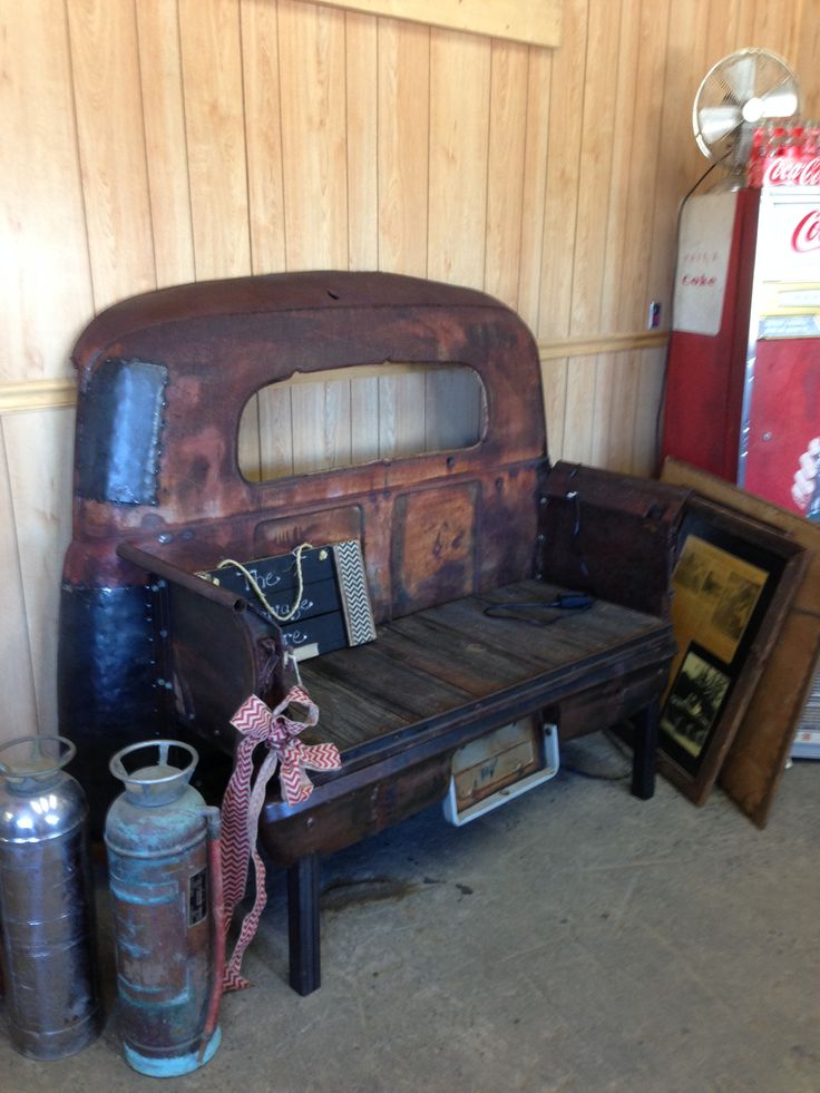 Truck Bench - bench made from an old truck for a great garage/outdoor bench!