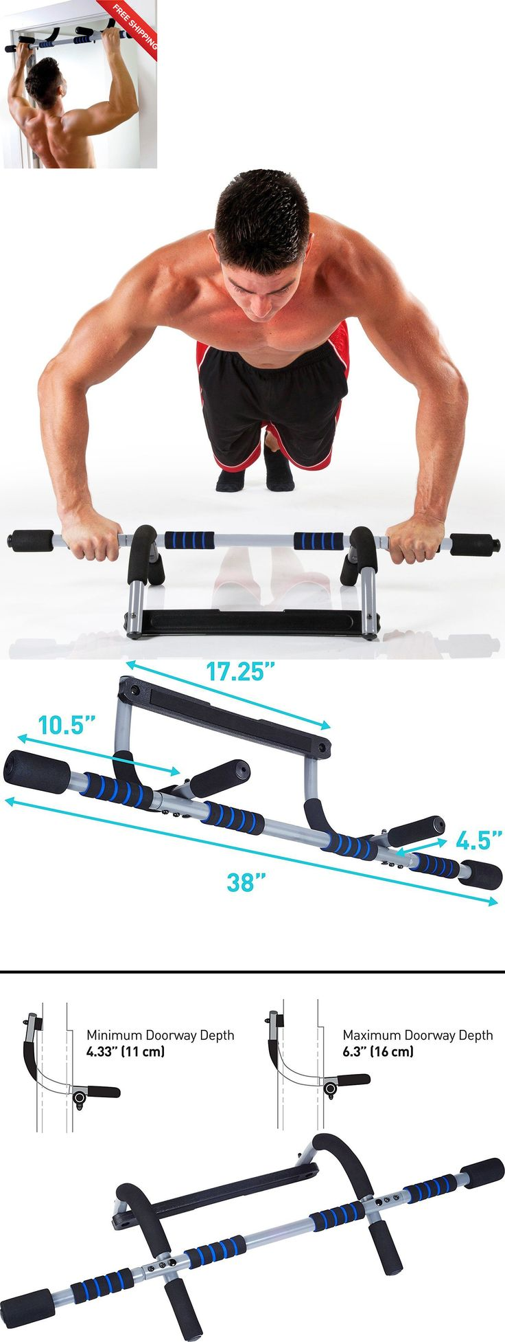 Abdominal straps crunch weight lifting door hanging gym chinning - Pull Up Bars 179816 Pull Up Bar Doorway Door Mount Workout Exercise Chin Push Up