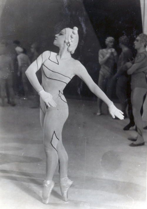 Marina Franca in a costume designed by Henri Matisse for the Ballet Russe production of Rouge et Noir (1939) with music by Dimitri Shostakovich.