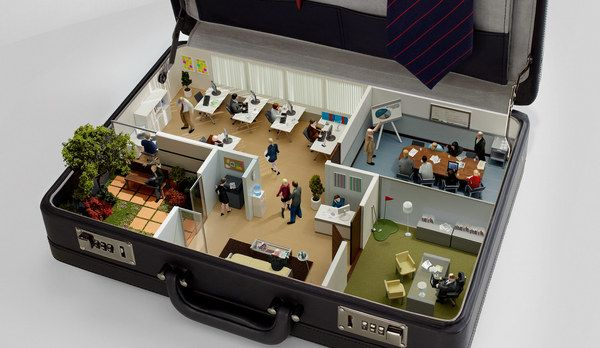Mini office in a briefcase. This is brilliant, love it. Actually, after looking at the other works on the page and looking closely at this, I think it's a drawing and not a true miniature scene. Still a good idea for someone to do.