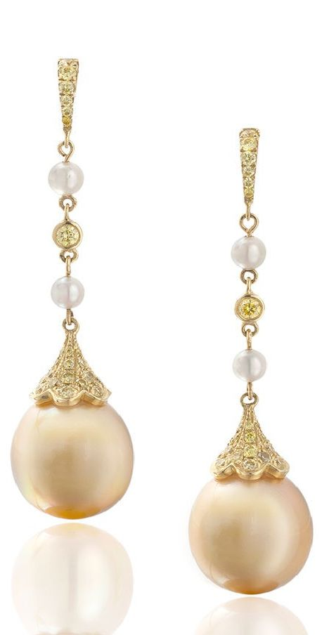 Golden Pearl Drop earrings. Follow us @SIGNATUREBRIDE on Twitter and on FACEBOOK @ SIGNATURE BRIDE
