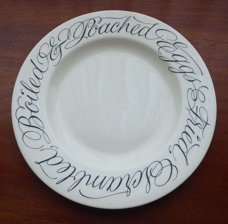 Emma Bridgewater Copperplate Cursive Script England Egg Dinner Salad Plate Dish
