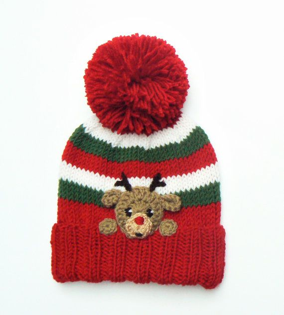 Reindeer Hat for Kids Knit Winter  Pom Pom Hat with by 2mice, $38.00