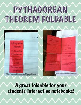 Have your students use this foldable to learn the Pythagorean Theorem.  This foldable includes: The theorem, an illustration and what a, b, and c are. How to find the hypotenuse with an example. How to find a leg, with an example. Common Pythagorean Triples.