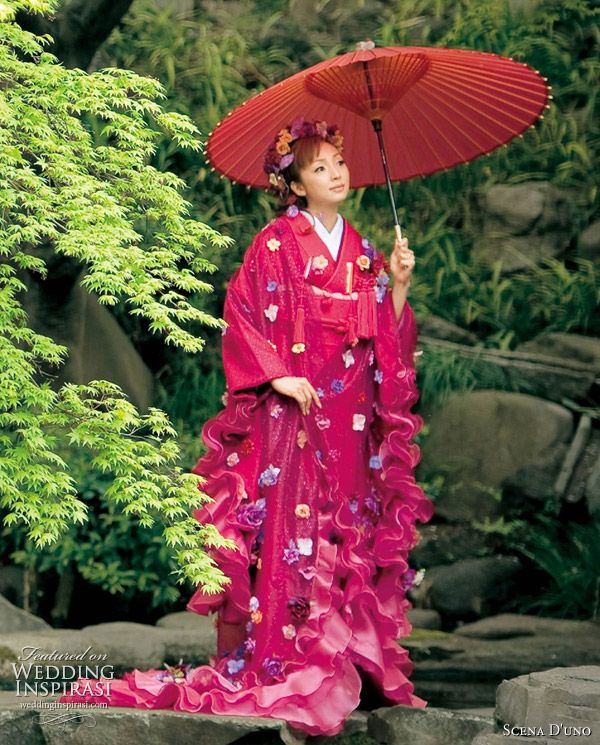 Modern Japanese kimono by Scena D'uno - pink kimono robe with ruffles, bride holding a paper parasol