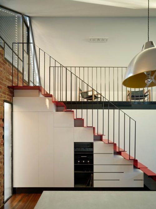 Melbourne terrace home, Andrew Maynard - red staircase