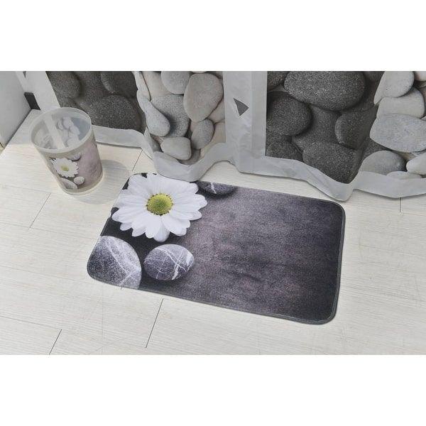 Evideco Microfiber Bath Mat Design ZEN Garden Gray Bath Rug