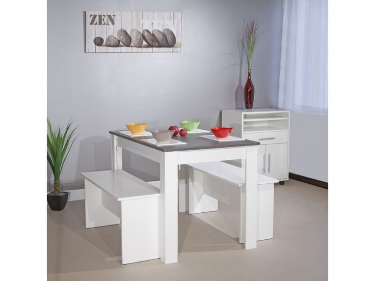Ensemble table + 2 bancs BASTIEN - Blanc, plateau effet béton