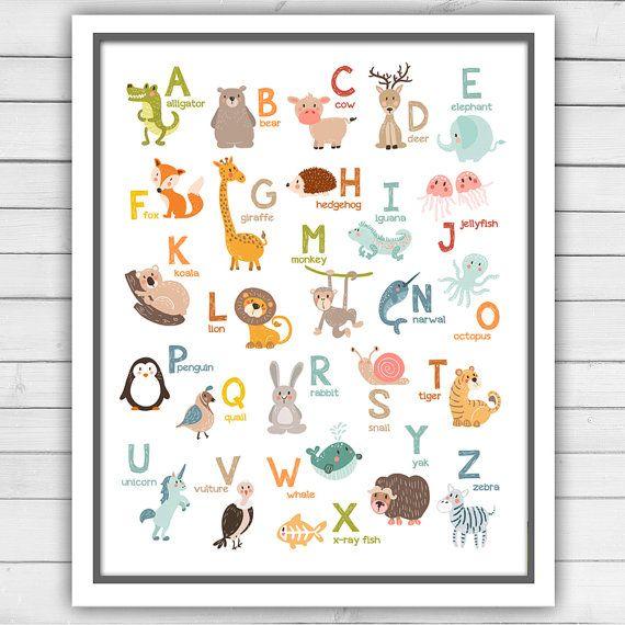 Alphabet Wall Art Alphabet Animals Alphabet Art Alphabet By  Anietillustration Part 25