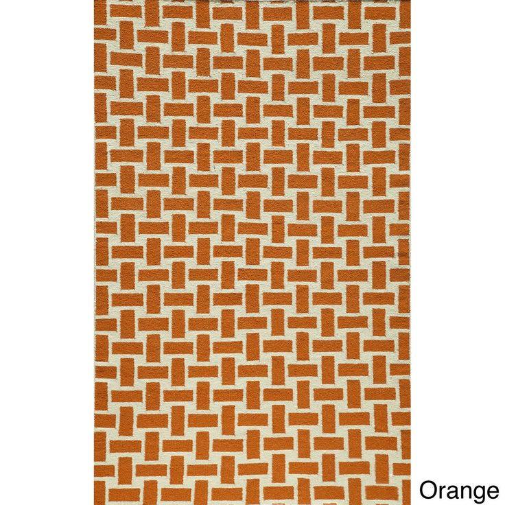 Mersa Bricks Flat Weave Wool Dhurry Rug 8 X 10
