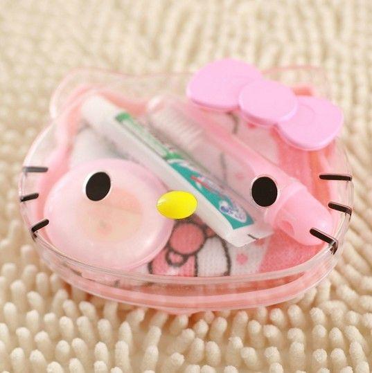 Free Shipping Cartoon Hello Kitty Travel Wash 4-Piece Set Toothpaste+Toothbrush+Soap+Towel Toiletries Wash Set Retail