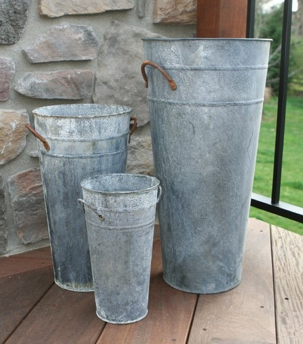 French Flower Buckets, Aged Zinc Finish - mediterranean - vases - philadelphia - Great Rooms Decor