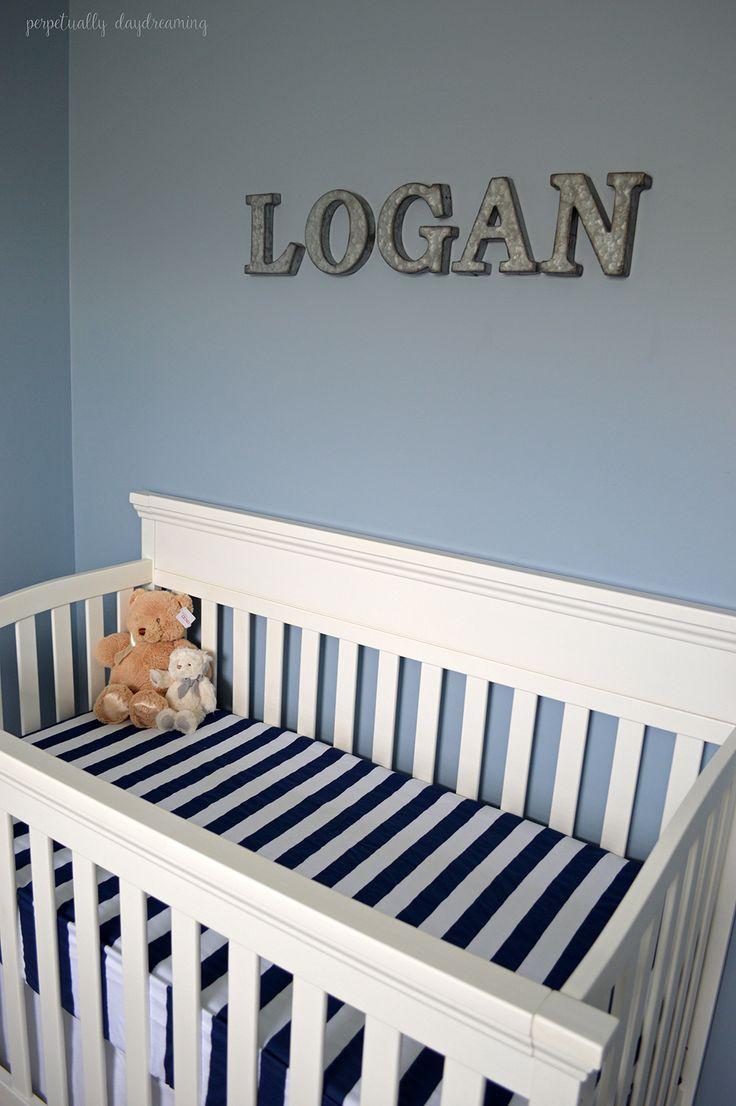 Grey Blue Nursery - Galvanized Steel Crib Letters, rugby stripes