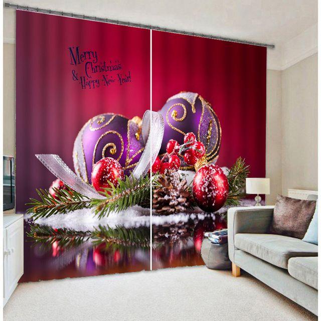 pas cher moderne de luxe rouge de no l 3d blackout fen tre. Black Bedroom Furniture Sets. Home Design Ideas