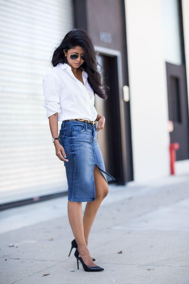 20 Modern Ways to Style a Denim Skirt for Spring - center slit denim pencil skirt + classic white button down and pointy pumps