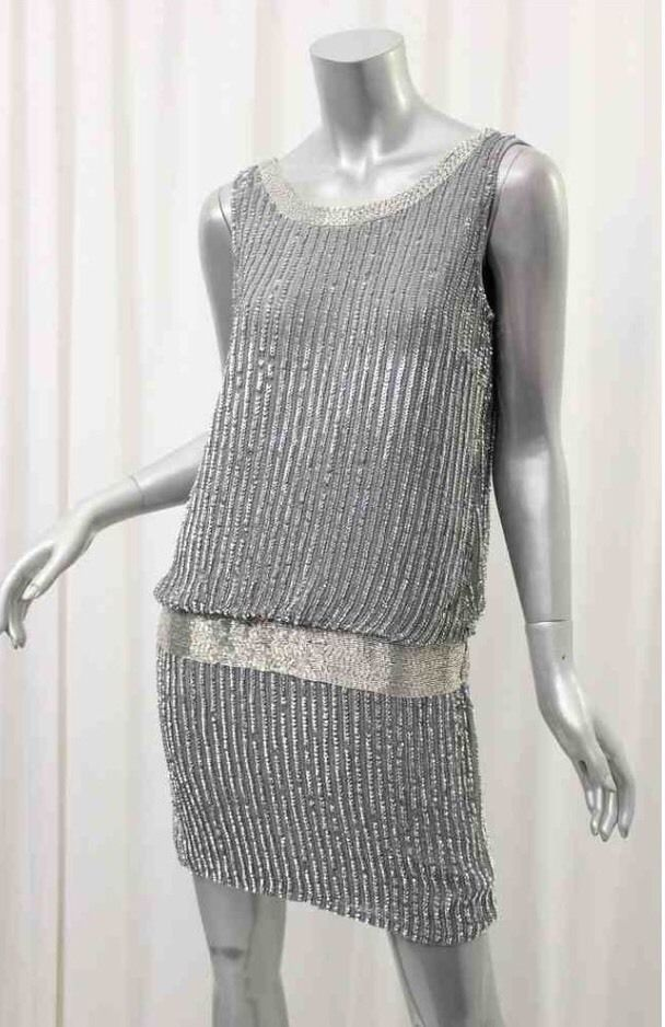 Adrianna Papell Gray Sleeveless Beaded Tank Blouson Dress Size 8P $284 | eBay