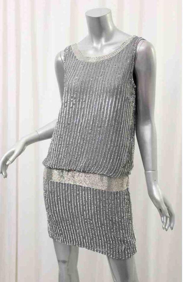 Adrianna Papell Gray Sleeveless Beaded Tank Blouson Dress Size 8P $284 | eBay
