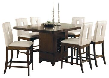 Homelegance Elmhurst 7 Piece Counter Height Dining Table Set in Cherry - transitional - Dining Sets - Cymax