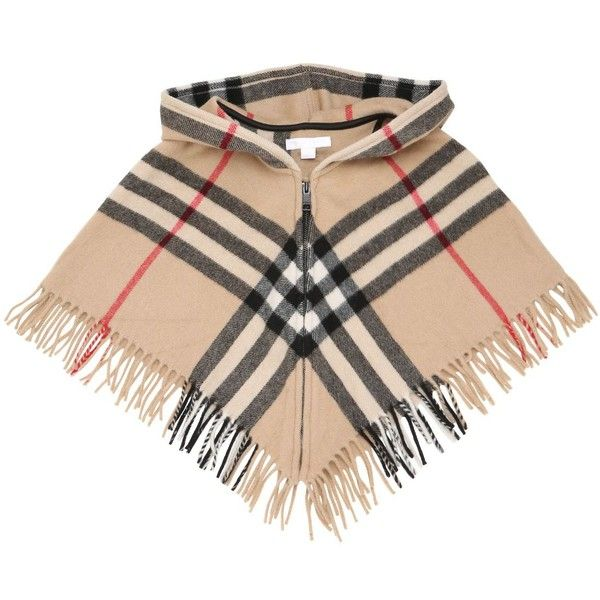 Burberry Kids-girls Hooded Wool & Cashmere Blend Poncho (1.390 BRL) ❤ liked on Polyvore featuring beige