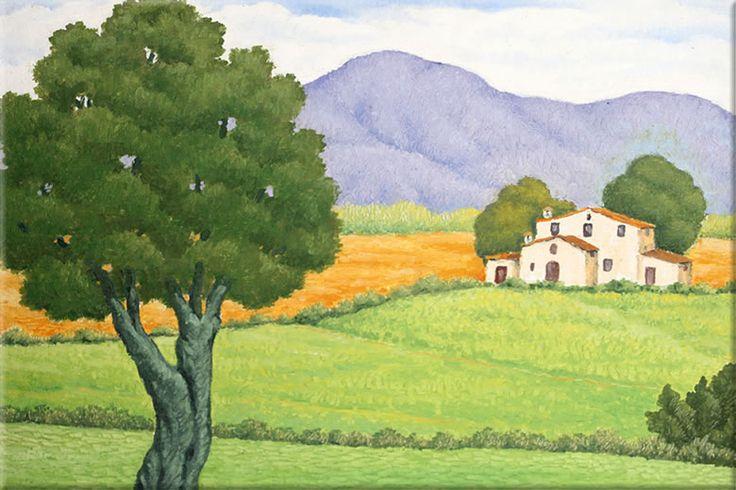 Paisaje del Ampurdán. Pintor: Lluis Puig Barella.Dimensiones:55 x 46 cm Técnica:Óleo sobre lienzo