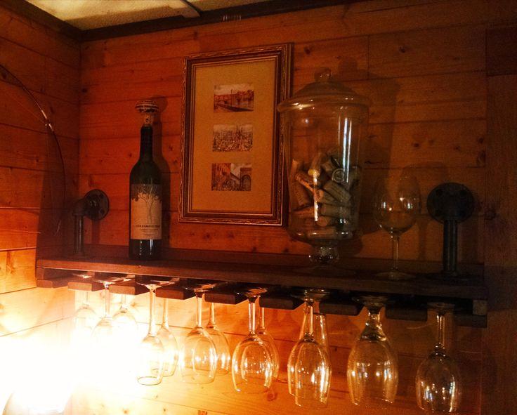 Pipe Shelves, Wine Glass Shelf, Pipe Shelving, Industrial Wine Shelving, Industrial Shelf, Shelving by RoughIronForest on Etsy https://www.etsy.com/listing/266990272/pipe-shelves-wine-glass-shelf-pipe