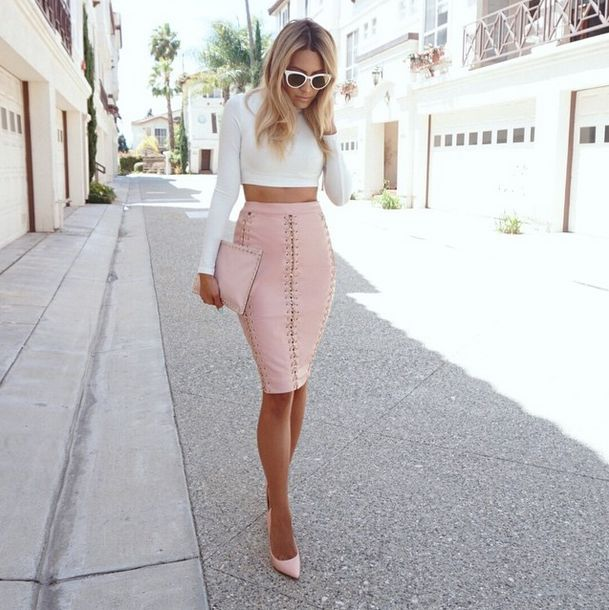 DESI • PERKINS    Top - Naked Wardrobe   Skirt - Houseofcb   Shoes - Lola Shoetique   Sunnies - Quay Australia   Purse - Valentino
