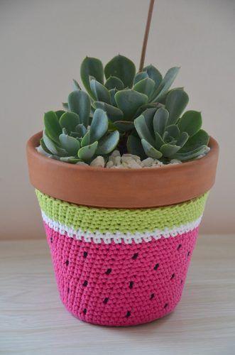 Maceta N10 Tejido Crochet Cactus Suculenta Regalo Navidad