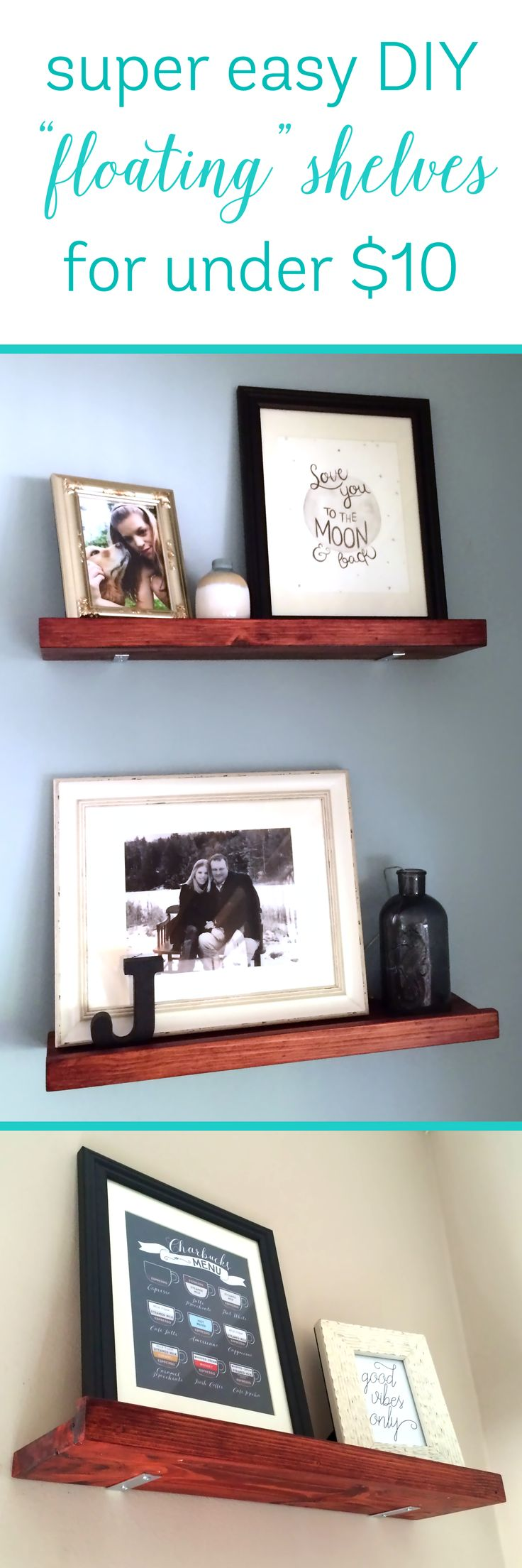 DIY Faux Floating Shelves for Under $10 a Shelf! | Riss Home Design | Home Decor, Design and DIY Blog