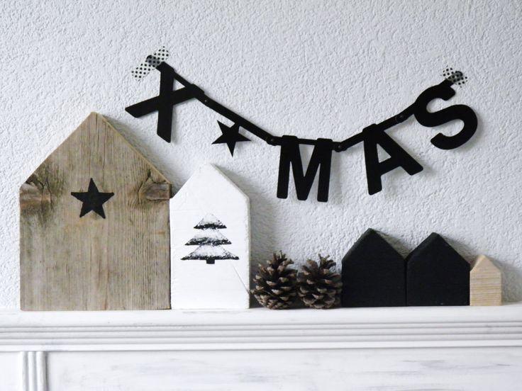 Wordbanners: kerstslingers met papieren letters