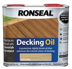 Decking Oil 2.5L Breath new life into decking with Ronseal Decking Oil. The deep penetrating formula feeds your wood, restoring the natural oils lost through weathering. It penetrates the wood leaving a natural looking finish and the deck both nourished and protected.