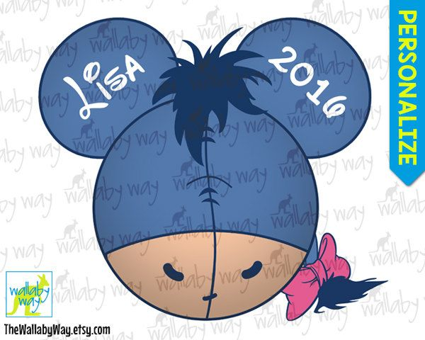 Eeyore mickey ears head printable iron on transfer or for Diy disney shirt template