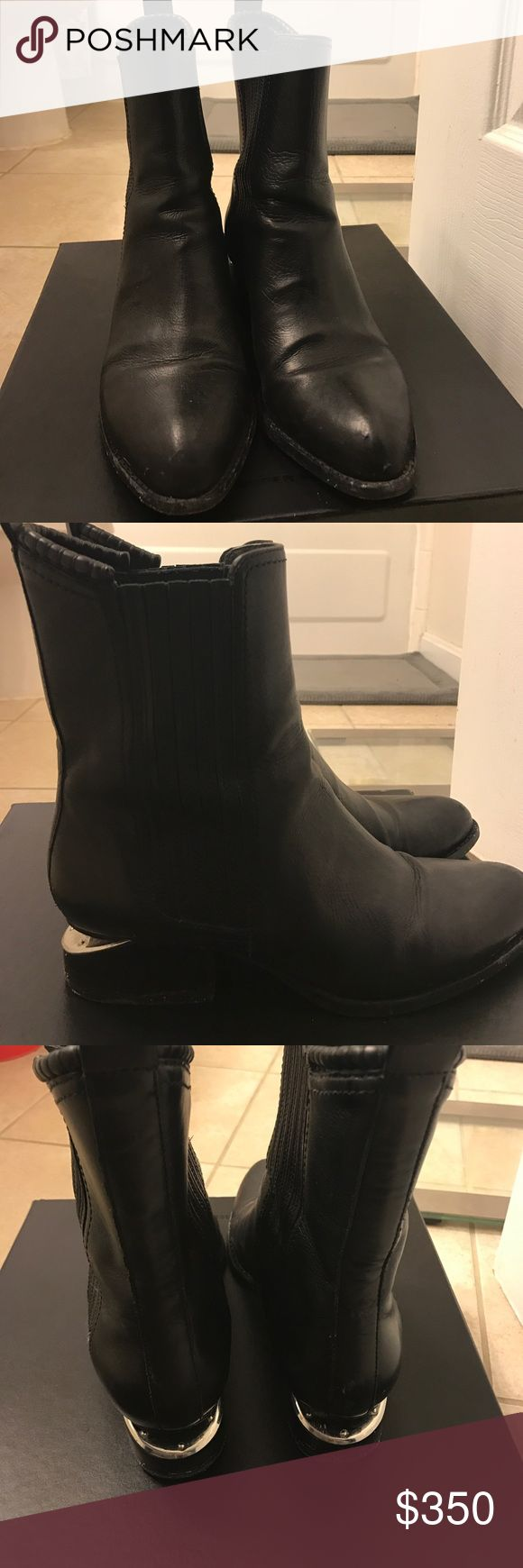 Alexander Wang Anouck Black leather Chelsea boots with silver metal heel. Worn several times. Purchased at Barney's. Alexander Wang Shoes Ankle Boots & Booties