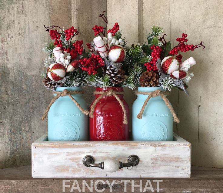 A personal favorite from my Etsy shop https://www.etsy.com/listing/488323585/red-and-blue-christmas-decor-christmas
