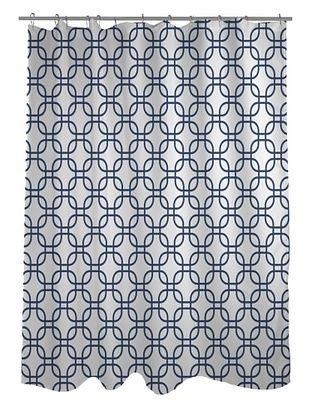 45% OFF One Bella Casa Hisa Geometric Shower Curtain, White/Navy