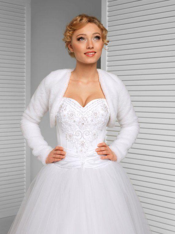 Winter Bridal Bolero Warm Bridal Jacket White Ivory Black Bridal