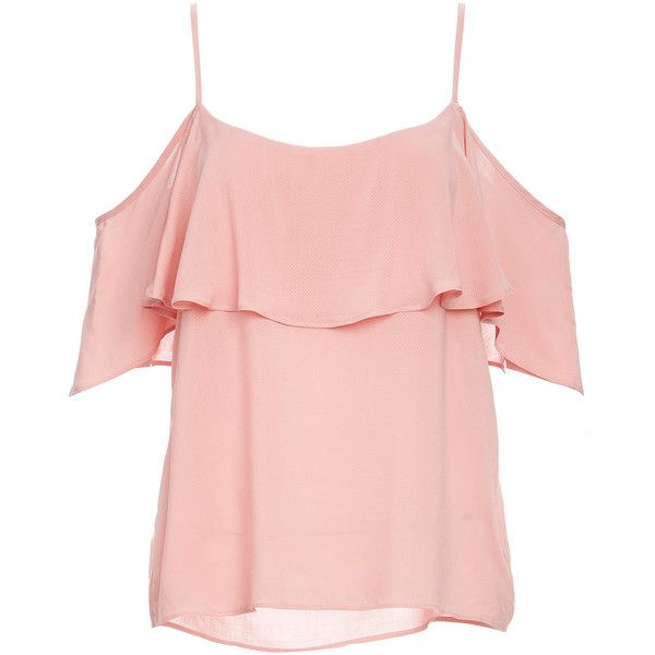 BB Dakota Ruffle Cold Shoulder Strap Top found on Polyvore featuring tops, shirts, blusas, pink, frilled top, flounce tops, bb dakota, frilly shirt and pink ruffle top