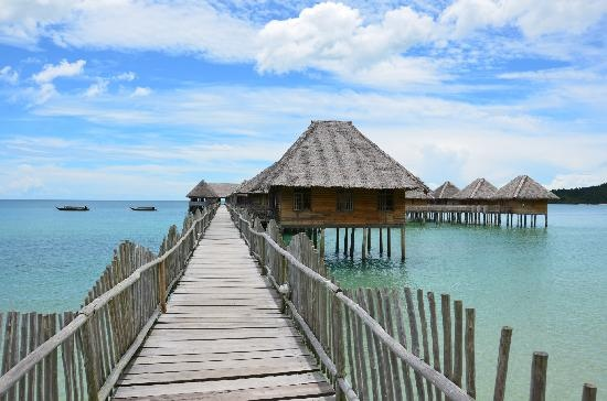 Telunas Beach Resort, Indonesia. (I've been here! long journey, but if you're in the neighborhood it's totally worth it) :)
