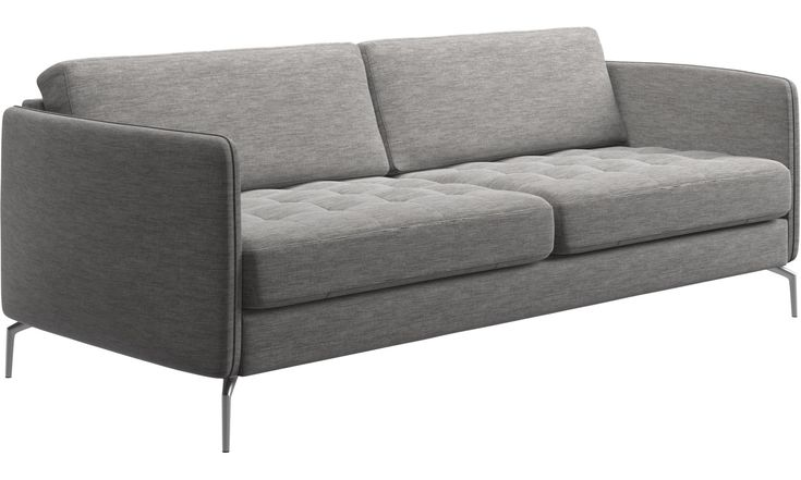 2.5 seater sofas - Osaka sofa, tufted seat - Grey - Fabric