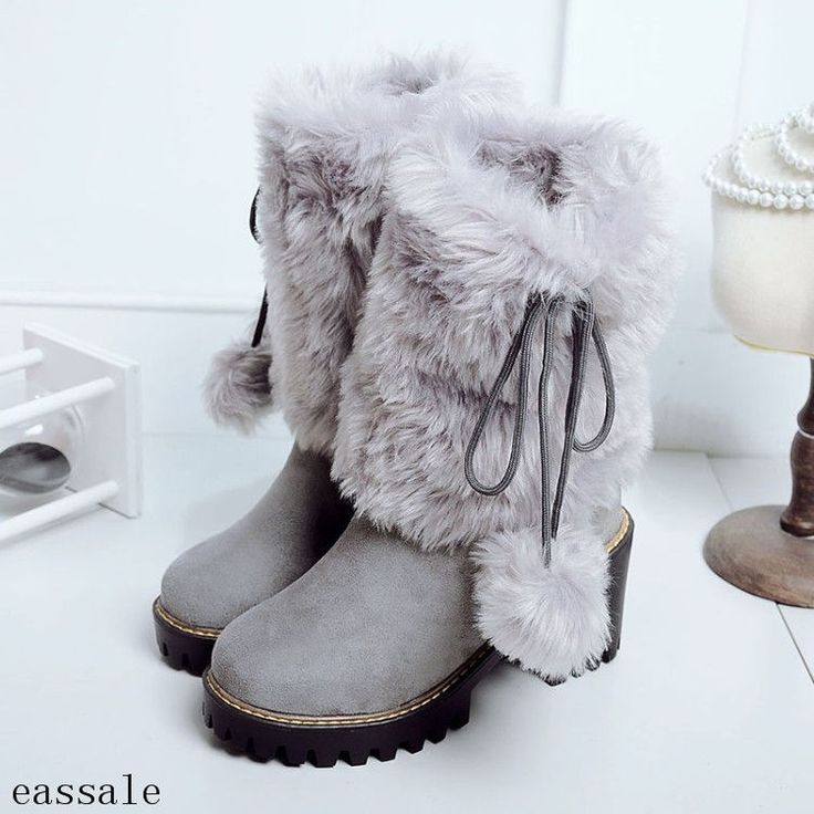 Womens Block High Heel Mid Calf Boots Snow Shoes Furry Pom Pom Pull On Boots