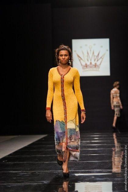 """Платье- пальто """"ЖЕЛТОЕ НЕБО"""" - жёлтый,рисунок,Анна Лесникова,пикассо,ганпи"""