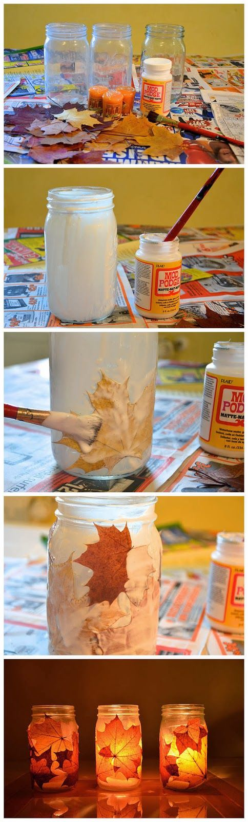 Grab some leaves from the yard and some of the jars you have lying around and make Autumn night lights! Woot, woot!